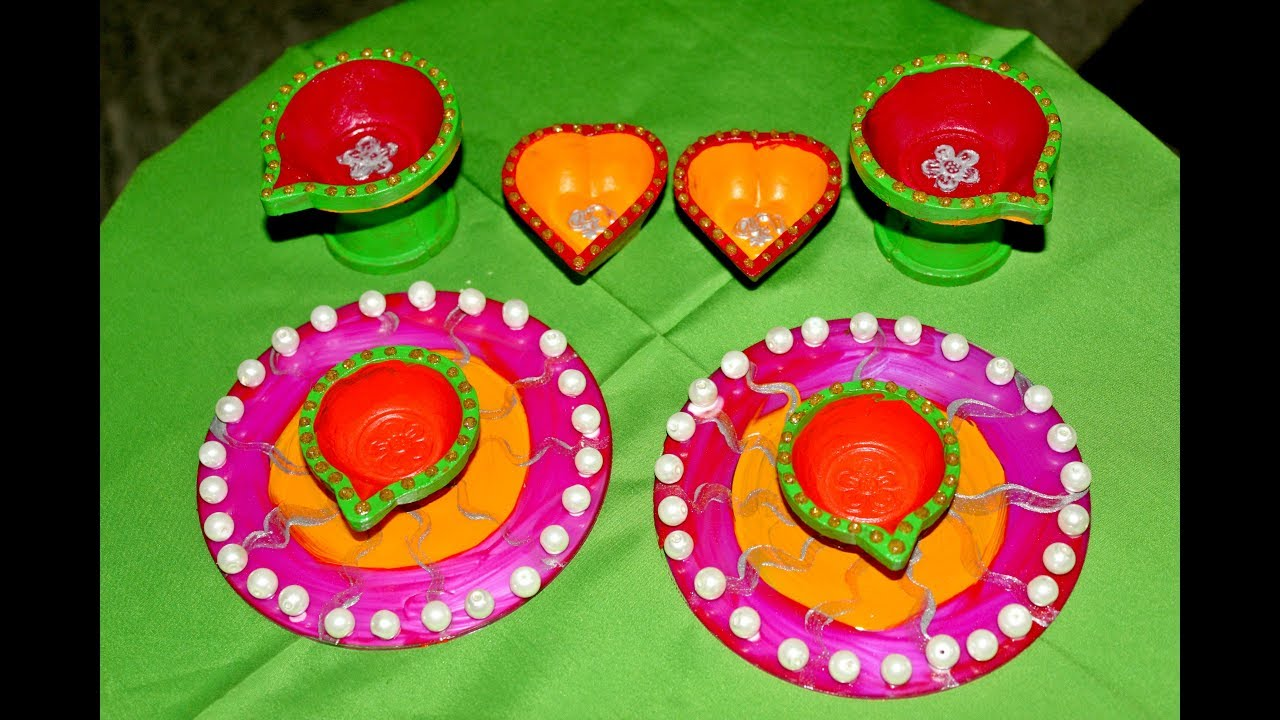 Diya decoration ideas diy diya decoration for diwali diya for Diya decoration youtube