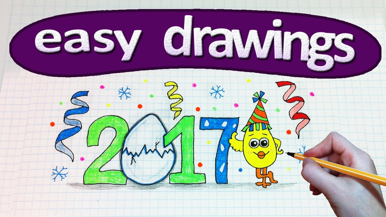 Easy Drawings 237 Happy New Year 2017 Drawings For Beginners