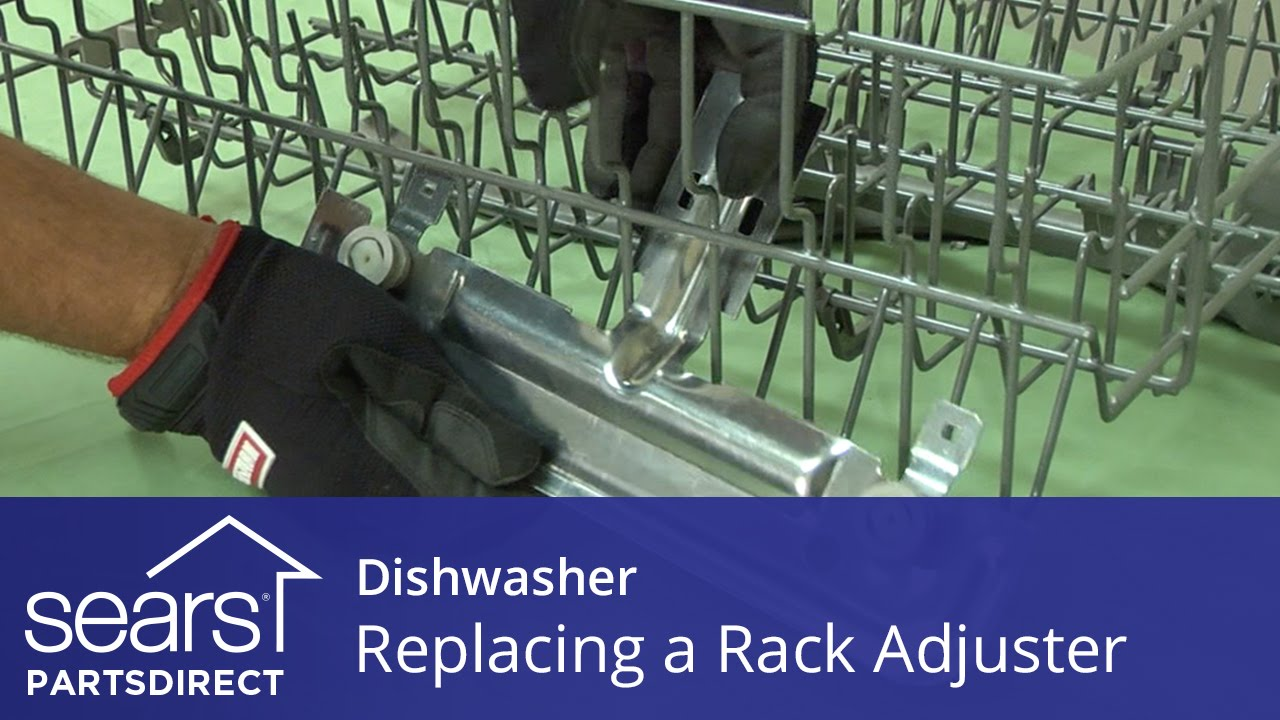 replacing a rack height adjuster in a dishwasher