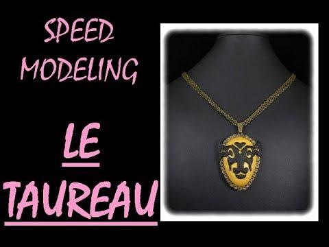 *SPEED MODELING* Collier polymère collection signe du zodiac: LE TAUREAU