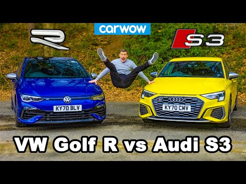VW Golf R v Audi S3 - review & 0-60mph, 1/4-mile and brake comparison! - carwow
