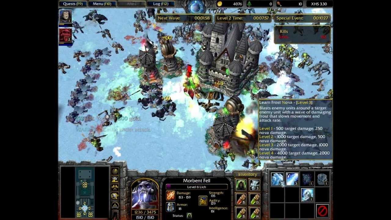 WarCraft 3: X Hero Siege Ex4 Complete Game Solo (1/3) HD ...