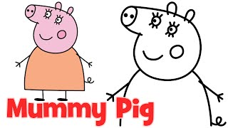 How to draw Peppa Pig family Mummy step by step easy drawing for kids