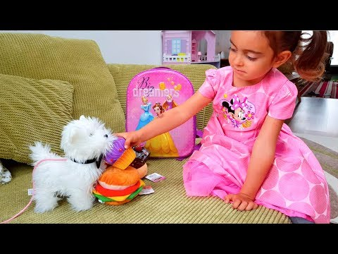 Little Girl doing shopping with her Puppy Nursery Rhymes Supermarket song for children
