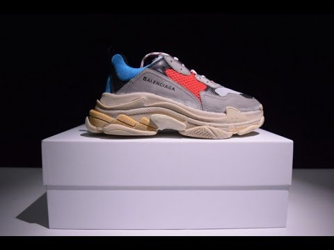 0bf4fb5b8b42a8 Unboxing! Mens Sneakers Balenciaga Triple S TRAINER Grey Red Blue ...