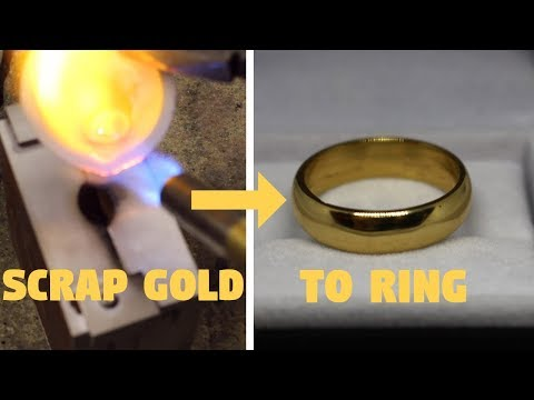 MAKING A GOLD RING FROM SCRAP (sandcasting)