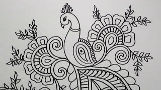 How to Draw Peacock with Beautiful Feather Design   Pen Art