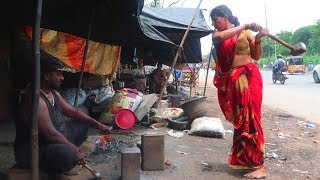 knives Making   Hard Working women making knife on road side in india   Hand Made Knife