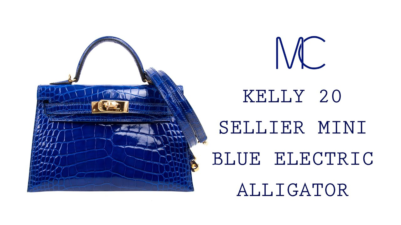 8696b8e200ce75 MIGHTYCHIC • HERMÈS Kelly 20 Sellier Mini Blue Electric Alligator Gold  Hardware