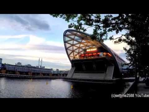 London Travel. A Walk from West India Quay to Canary Wharf Crossrail Station