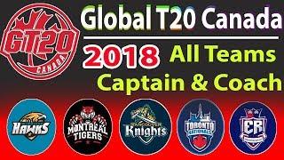 Global T20 League Canada 2018 All Teams Captain & Coach List