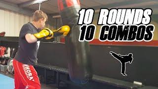 30 Minute Martial Arts Workout - 10 Heavy Bag Combinations With Tips