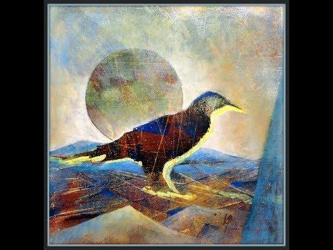 Monotypie Gelatinedruck Serie   Vogel , Ausarbeitung 2   Monotype gelatine printing   Bird, Working