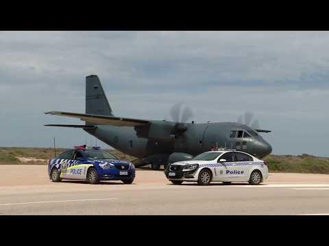 RAAF C-27J Spartan lands on Nullarbor plain (Highway).