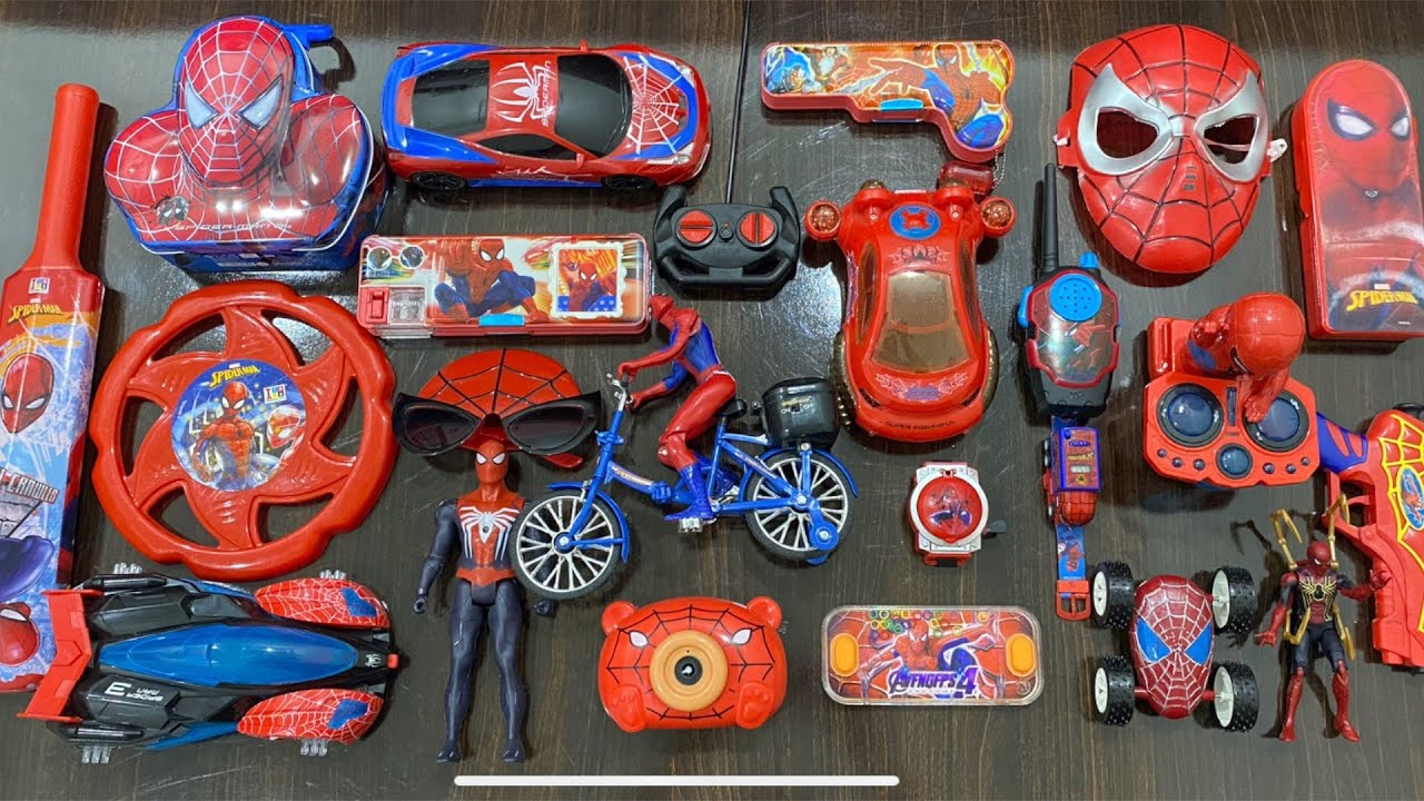 My Latest Cheapest Big Spiderman toy Collection, Piggy Bank, Bubble toy, Flying Disk, RC Car