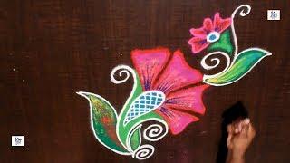 Creative & Simple Border Kolam / rangoli Design without using Dots || maitrin 2018