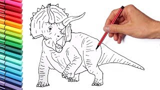 How to Draw Triceratops - Drawing and Coloring Jurassic World Dinosaurs for Children