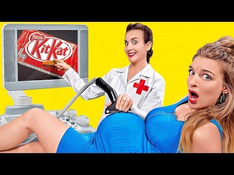 SITUACIONES GRACIOSAS DURANTE EL EMBARAZO    Reto del embarazo de 24 horas por 123 GO! CHALLENGE