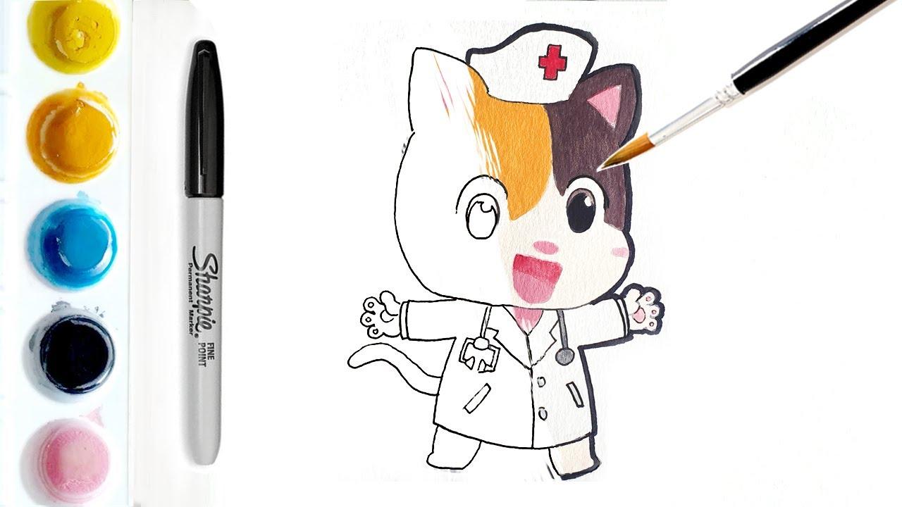 Menggambar Dan Mewarnai Baby Kitten Babybus Dokter Mimi Babybus Art Forkids