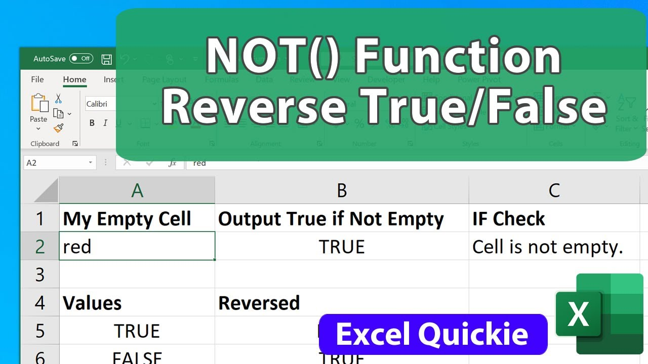 NOT() Function in Excel – Reversing True/False
