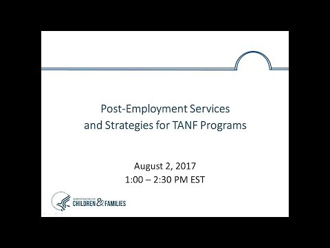 Post-Employment Services and Strategies for TANF Programs