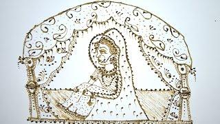 How To Make/ Draw Dulhan Or Bride Seated  In Doli/ Vidai Ritual In Henna/ Mehndi