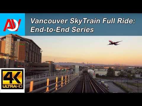 Vancouver SKYTRAIN FULL RIDE: CANADA LINE INBOUND (SUNSET) YVR Airport to Waterfront End-to-End - 4K