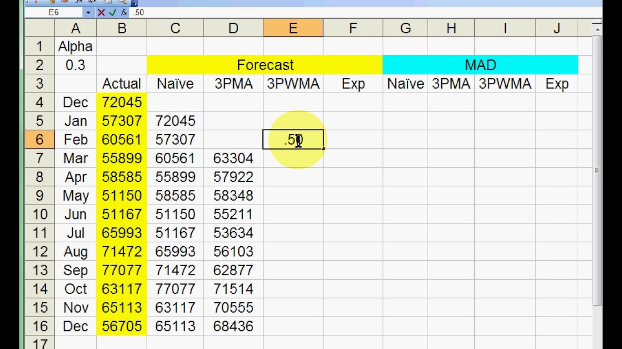 Using Excel for Basic Forecast Smoothing
