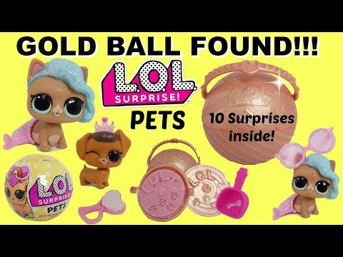 LOL Surprise Pets Series 3 Gold Ball Found, Ultra Rare pets Splashmeow-Maid and Fancy Haute Dog
