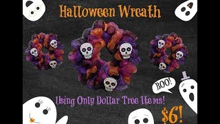Halloween Wreath! Using Only Dollar Tree Items!