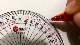 How to draw angles using a protractor (outer scale) (more examples)
