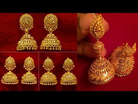 Latest and Beautiful Gold Traditional Gold Indian Wedding Earrings Jhumka Designs