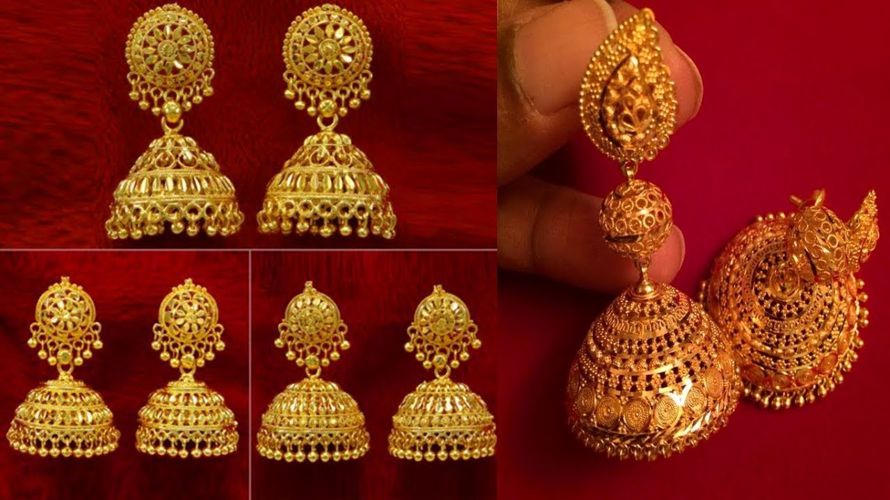 Latest And Beautiful Gold Traditional Indian Wedding Earrings Jhumka Designs