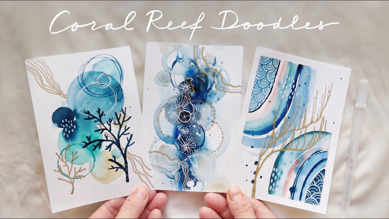 Easy Coral Watercolor Doodles