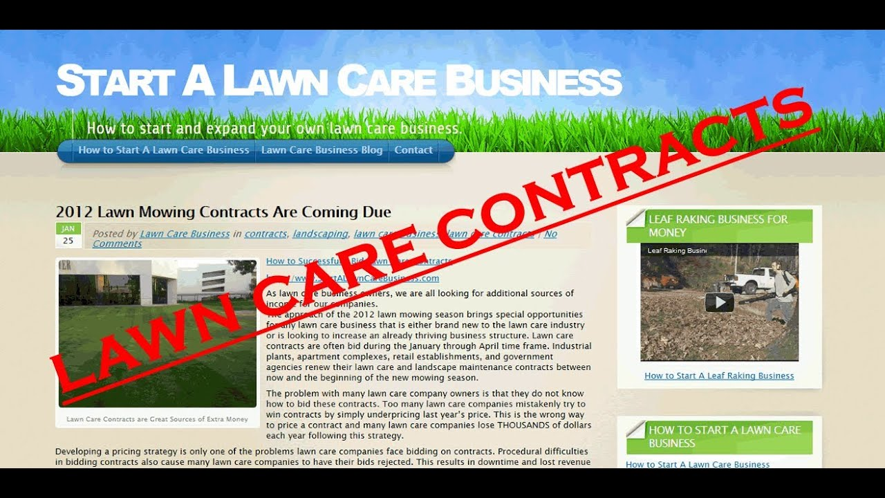 What is typically included in a lawn care contract?
