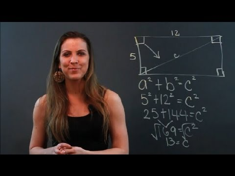 How to Find the Length of a Diagonal Line Running Though a Rectangle : Math Tips