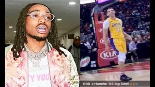Quavo Sits Court Side Begs Lonzo Ball For Big Baller Brand Shoes!