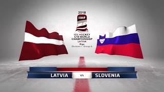 LATVIA - SLOVENIA 2-1 Highlights /2018 IIHF World Ice hockey championship U18 Division I /