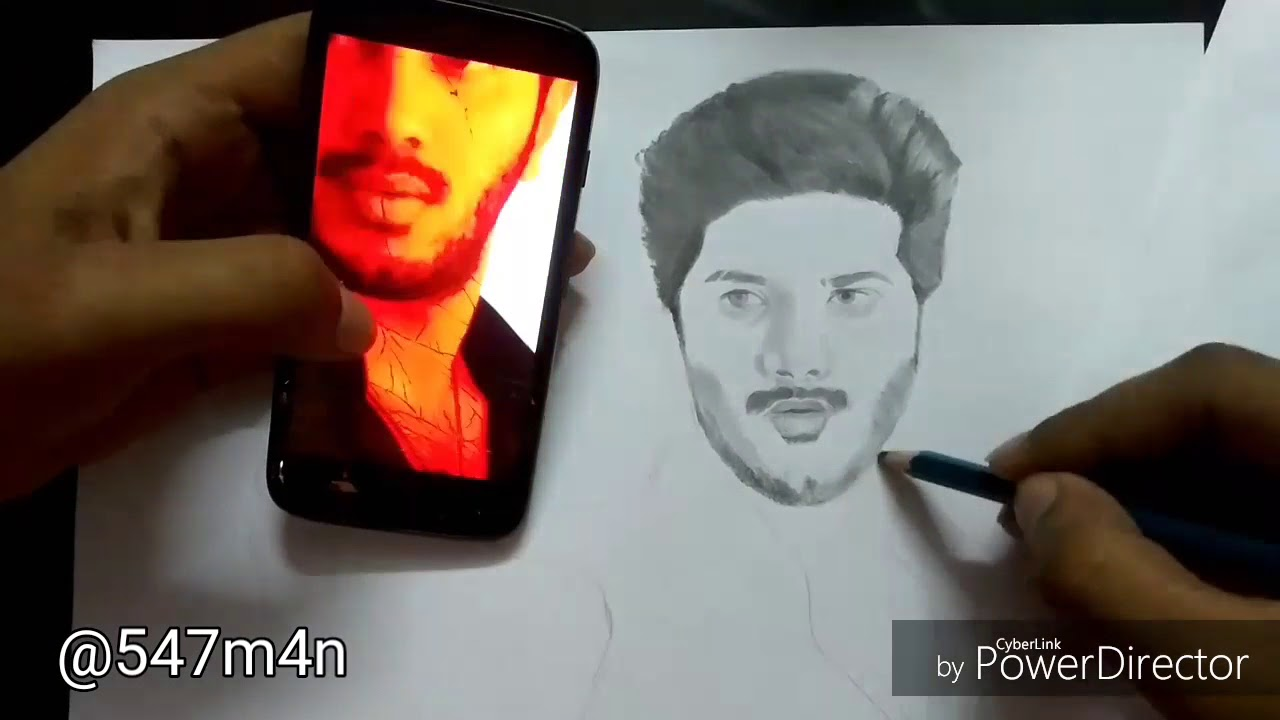 Dulquer salmaan pencil drawing