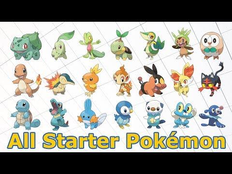 All Starter Pokémon and their Evolutions