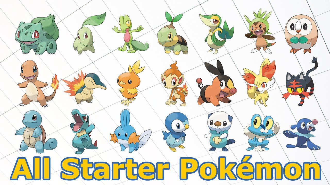 all starter pokémon and their evolutions youtube