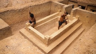 Dig to Build Most Creative Underground Temple Swimming Pool Construction Bushmen Designed #Part2 thumbnail