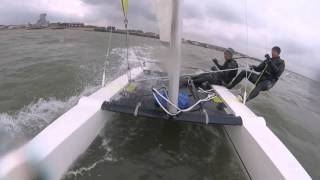 Sailing Dart 18 Catamaran Fast Big Waves - Whitstable Yacht Club - April Showers Series