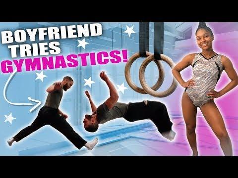 BOYFRIEND TRIES GYMNASTICS! (HILARIOUS)
