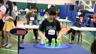 Sport Stacking Individual cycle Korea Record 8.449 koeun Back