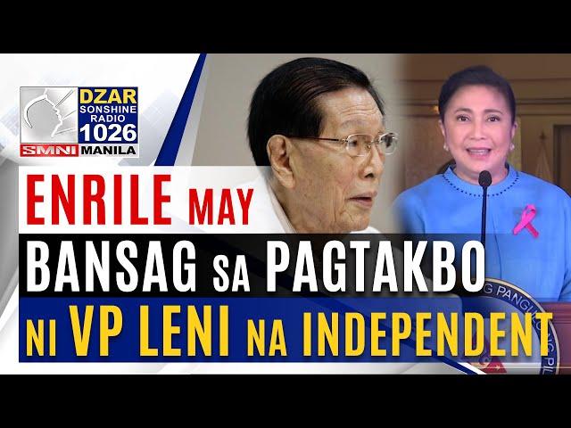 Pagtakbo ni VP Leni bilang independent, tinawag na salamangkero ni Enrile