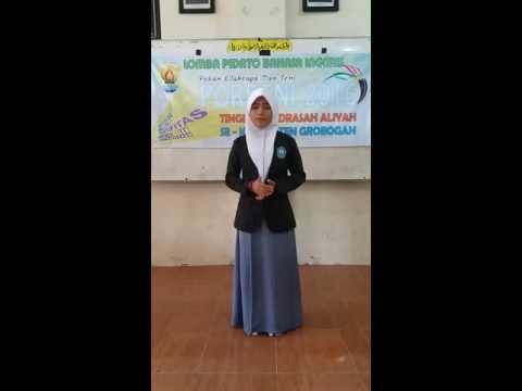 Juara 2 Pidato Bahasa Inggris Putri (Speech Contest) Porseni Kab. Grobogan 2016 MA Manba'ul A'laa