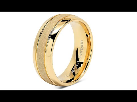 Handmade 8mm Sand Blasted 14k Gold Tungsten Carbide Ring