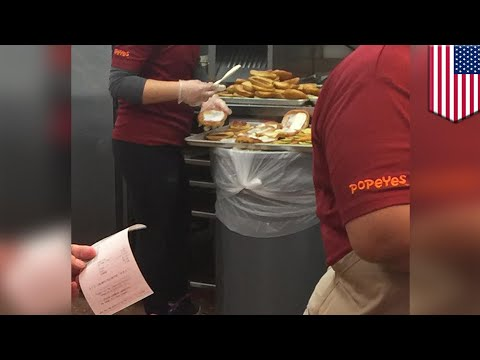 Qui West - Photo Shows Popeyes Making Chicken Sandwiches On Top Of A Trash Can!