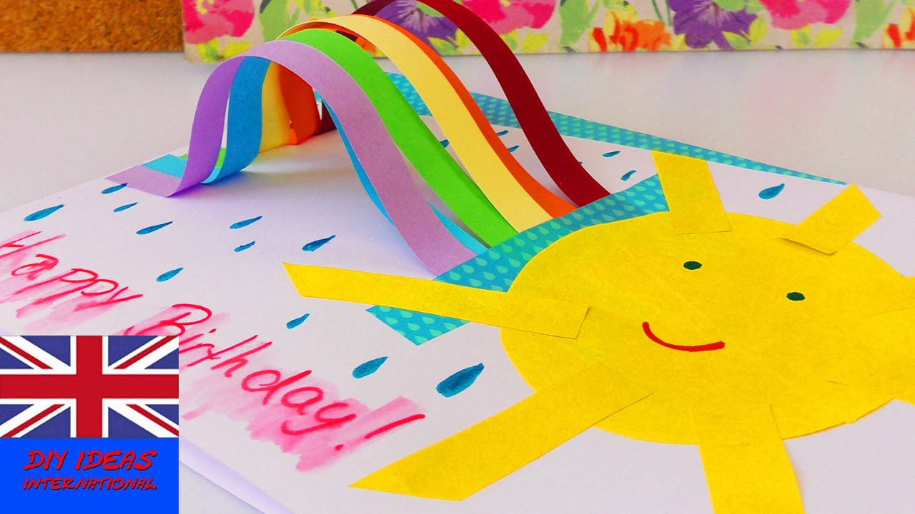 LOVELY BIRTHDAY CARD WITH RAINBOW AND SUN How To Make This Cute Card On Your Own